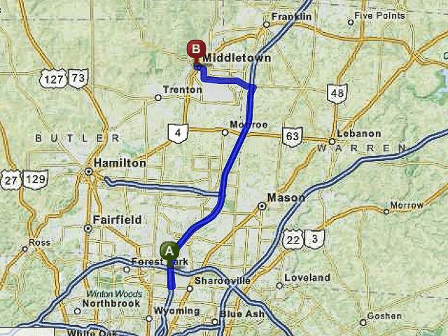 Driving Directions from Cincinnati to PAC