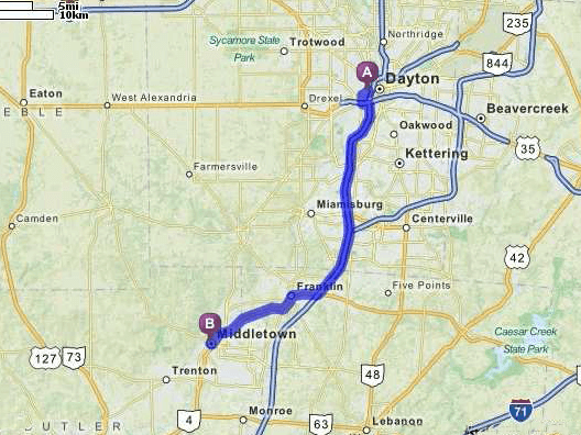 Map showing directions from Dayton to the PAC